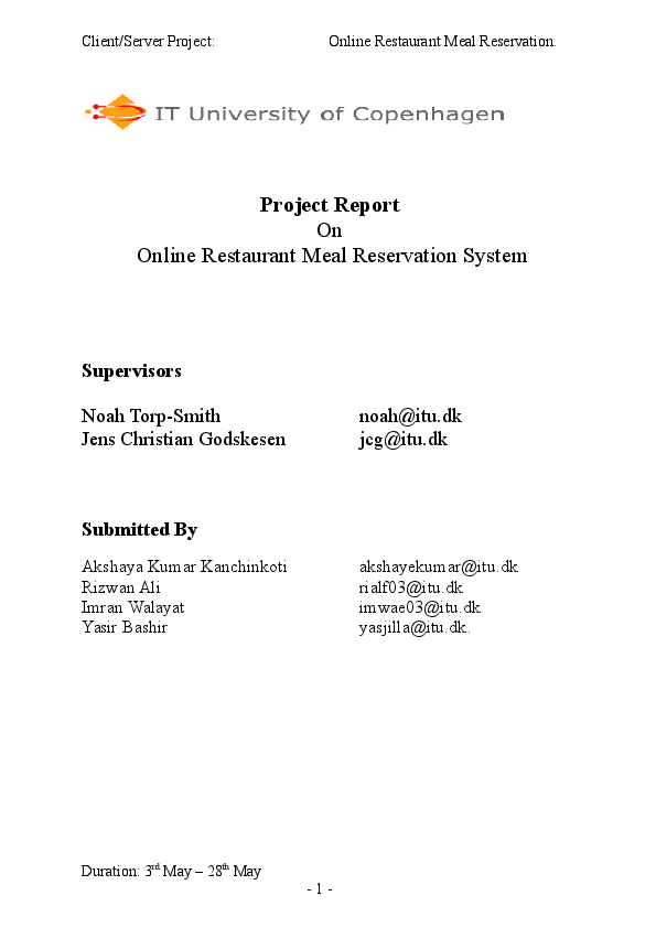 DOC) Project Report On Online Restaurant Meal Reservation