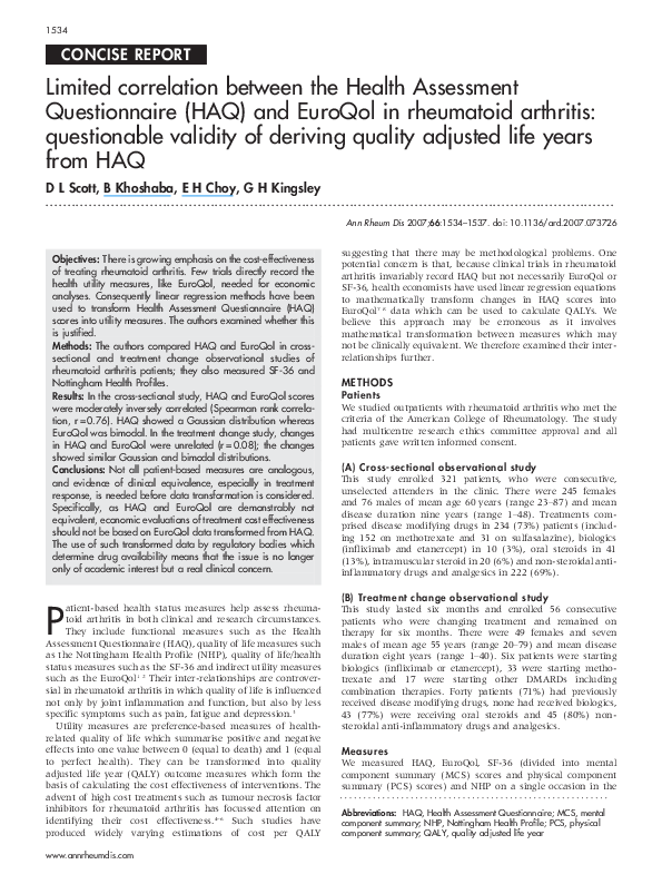 Pdf Limited Correlation Between The Health Assessment Questionnaire