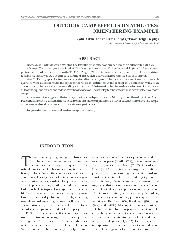 PDF) OUTDOOR CAMP EFFECTS ON ATHLETES: ORIENTEERING EXAMPLE