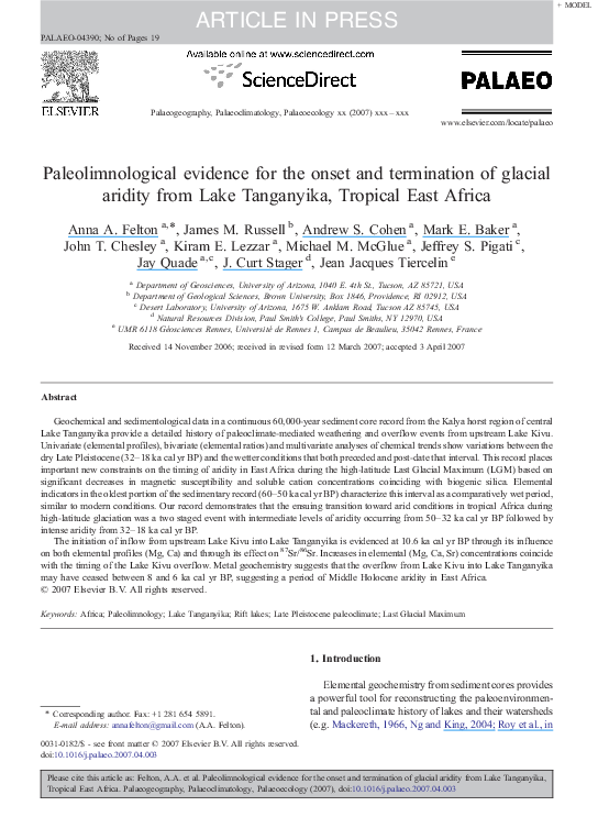 Paleolimnological Evidence For The Onset And Termination Of Glacial