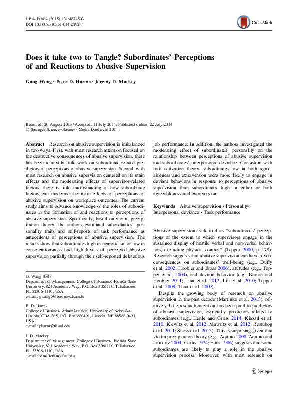 PDF) Does it Take Two to Tangle? Subordinates' Perceptions of and