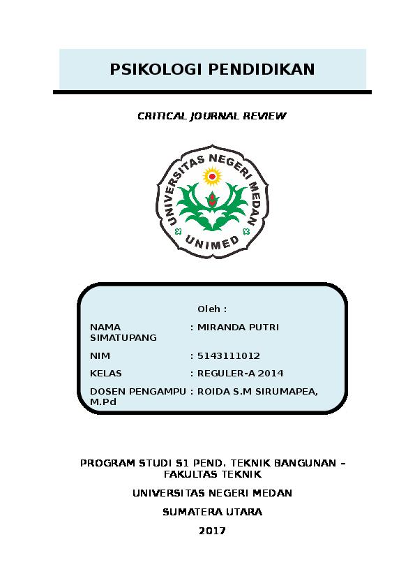 Doc Journal Review Psikologi Pendidikan Miranda Simatupang Academia Edu