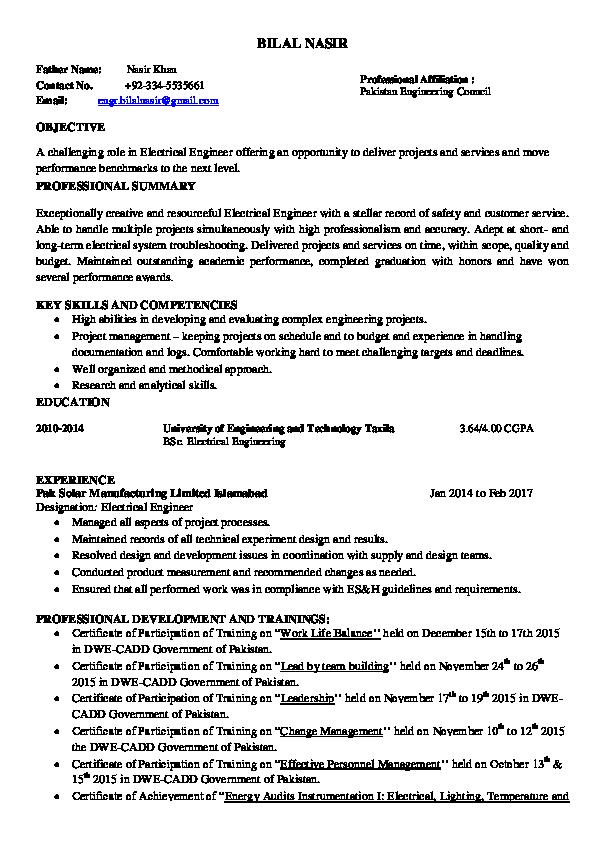 PDF) Curriculum Vitae format For Engineers   Engineer Bilal