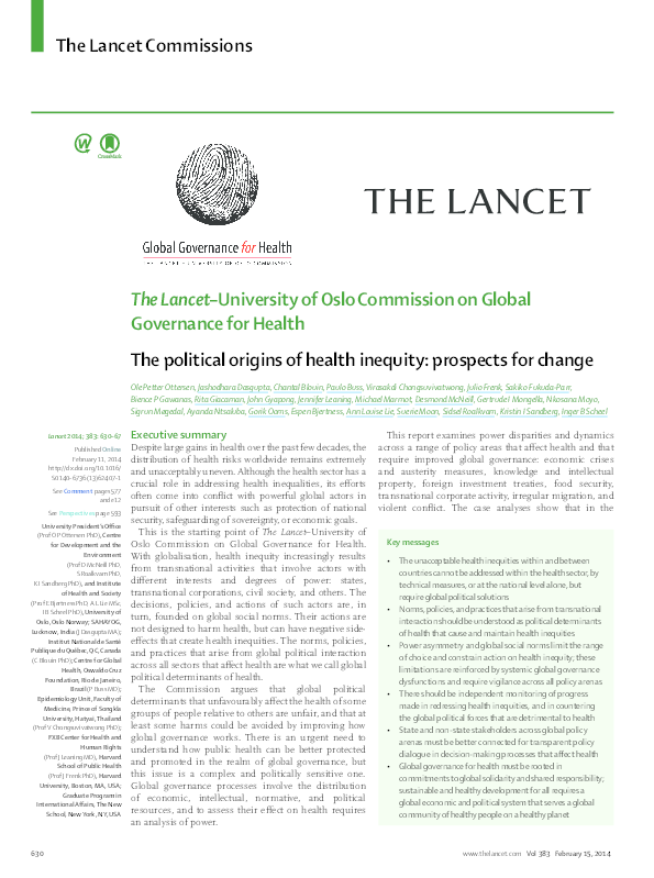 PDF) The political origins of health inequity: prospects for change