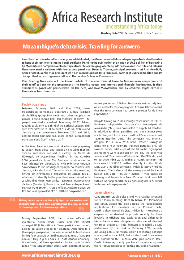 PDF) Mozambiques debt crisis: Trawling for answers | Nick