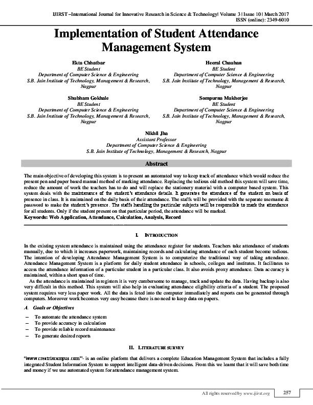 PDF) Implementation of Student Attendance Management System