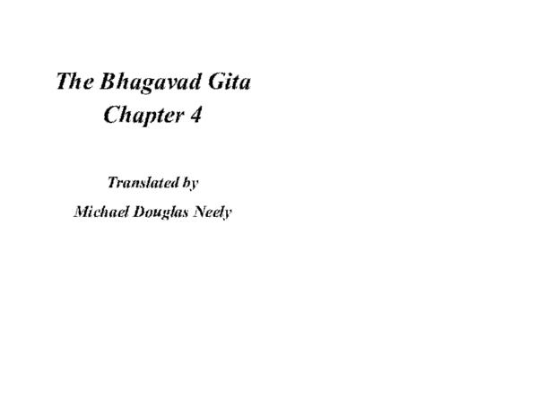 PDF) The Bhagavad Gītā: Chapter 4   Michael D Neely