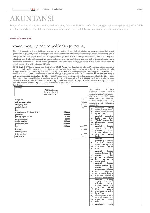 Pdf Akuntansi Contoh Soal Metode Periodik Dan Perpetual Copy