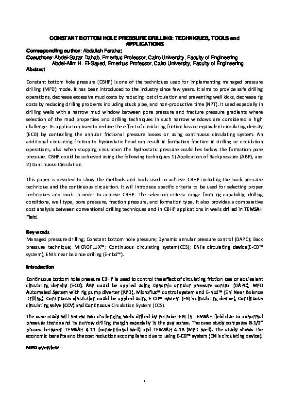 PDF) CONSTANT BOTTOM HOLE PRESSURE DRILLING: TECHNIQUES