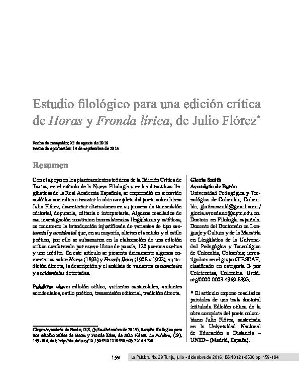 Pdf Estudio Filológico Para Una Edición Crítica De Horas Y