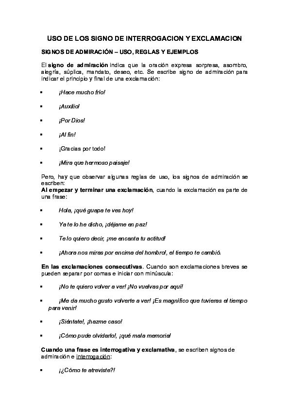 Doc Uso De Los Signo De Interrogacion Y Exclamacion Signos