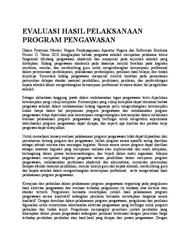 Doc Evaluasi Hasil Pelaksanaan Program Pengawasan Yusriansyah Madridista Academia Edu