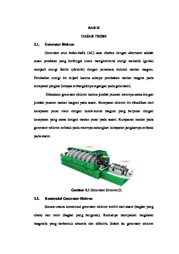 Bab Ii Dasar Teori 21 Generator Sinkron Fenny Febrina Academiaedu