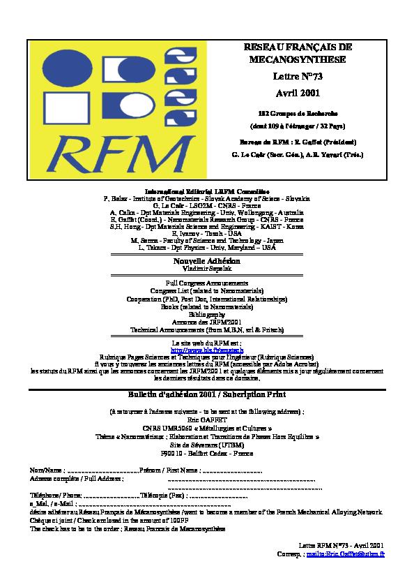 Pdf Lettre Mensuelle N 73 Réseau Français De
