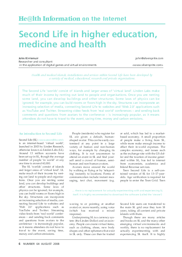 PDF) Second Life in higher education, medicine and health