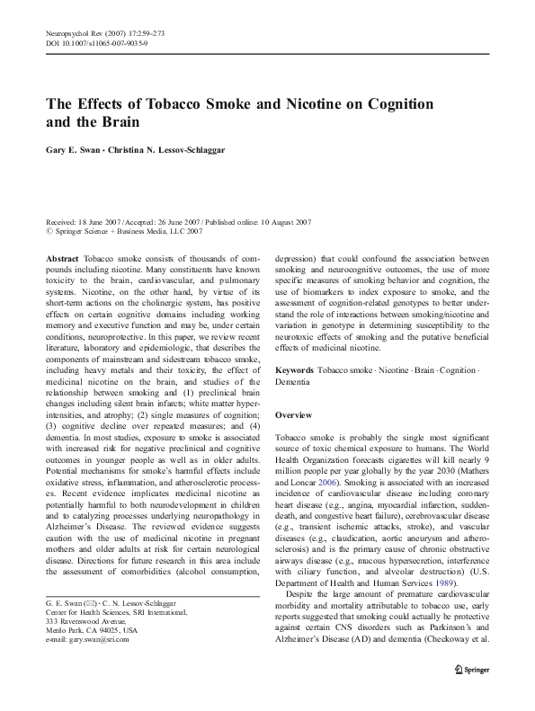 PDF) The Effects of Tobacco Smoke and Nicotine on Cognition and the