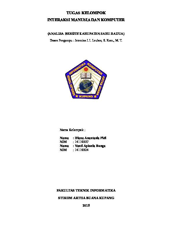 Doc Tugas Kelompok Interaksi Manusia Dan Komputer Analisa Website Kabupaten Sabu Raijua Diana Pidi Academia Edu