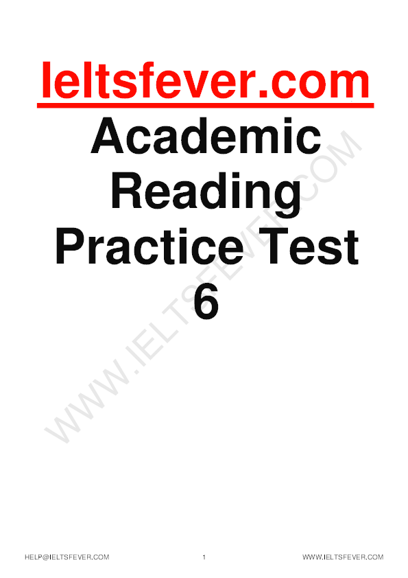 PDF) Ieltsfever com Academic Reading Practice Test 6