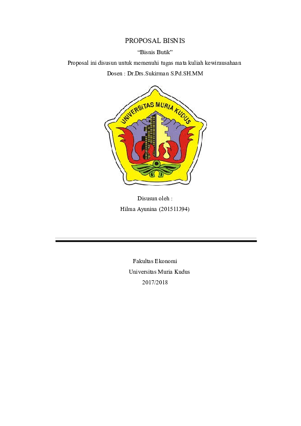 Doc Proposal Pendirian Usaha El Zahra Boutique Dwica Handayani Academia Edu
