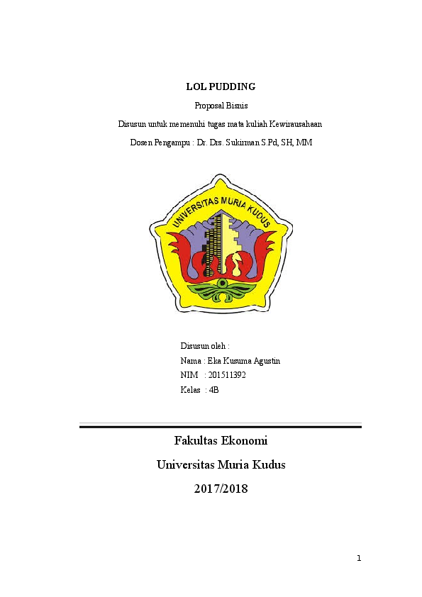 Doc Proposal Bisnis Lol Pudding Dwica Handayani Academia Edu