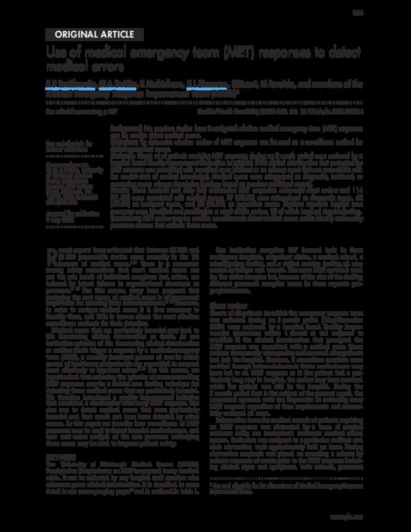 PDF) Use of medical emergency team (MET) responses to detect