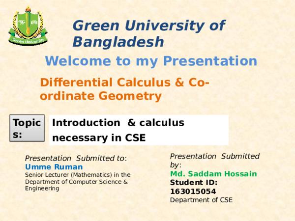 PPT) Differential Calculus ppt | Cse Hossain - Academia edu
