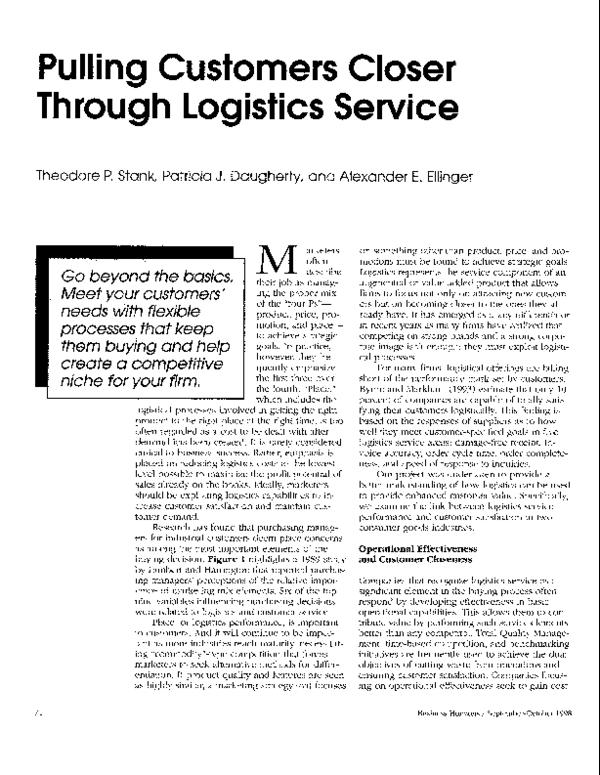 PDF) Pulling customers closer through logistics service