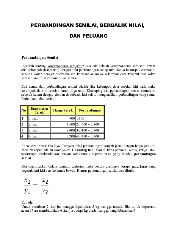 Contoh Soal Perbandingan Senilai Dengan Tabel Dan Grafik Contoh Soal Terbaru