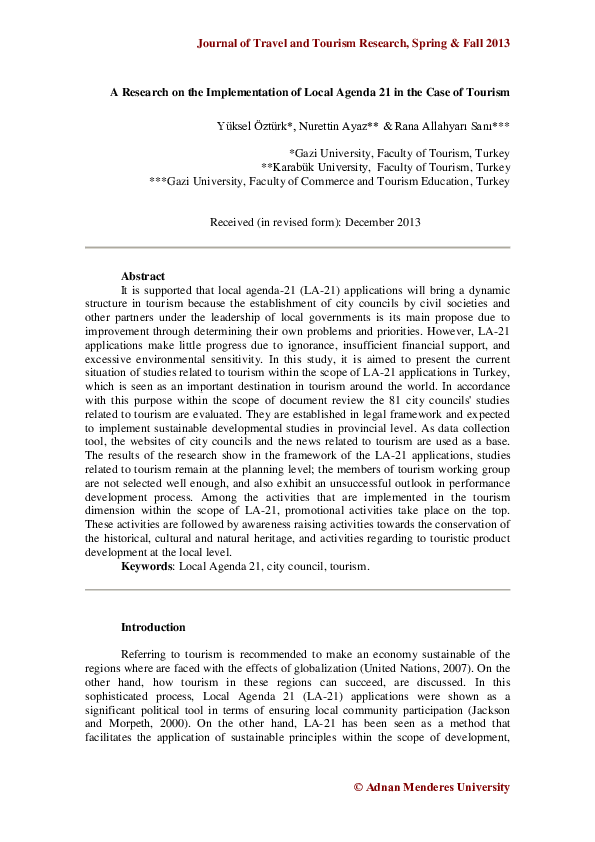 PDF) A Research on the Implementation of Local Agenda 21 in