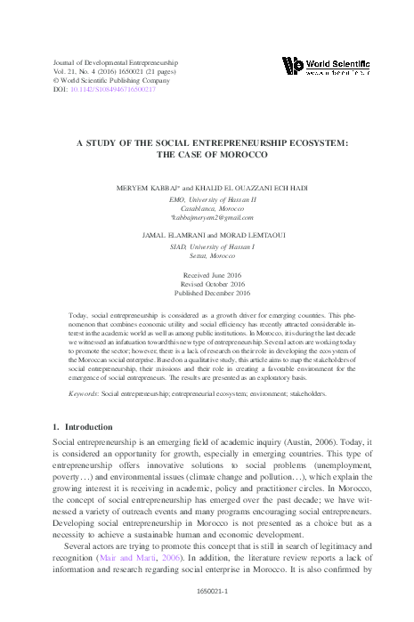 PDF) A STUDY OF THE SOCIAL ENTREPRENEURSHIP ECOSYSTEM: THE