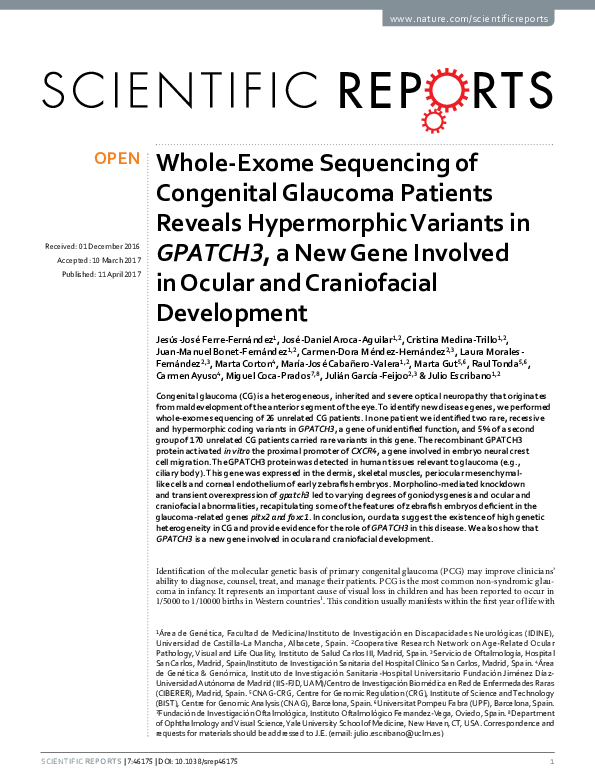 PDF) Whole-Exome Sequencing of Congenital Glaucoma Patients