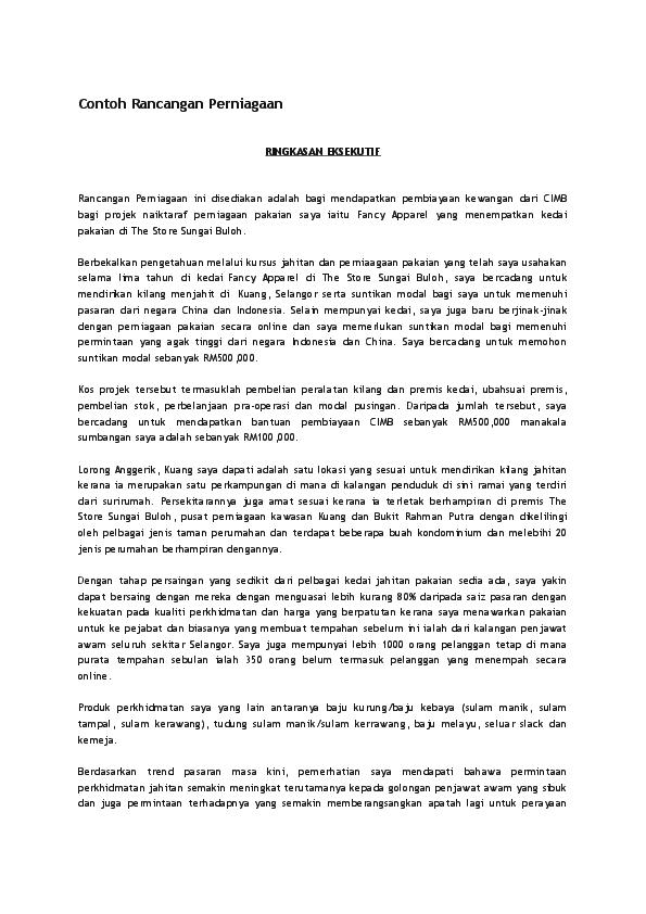 Doc Contoh Rancangan Perniagaan Muhammad Hayesh Academia Edu