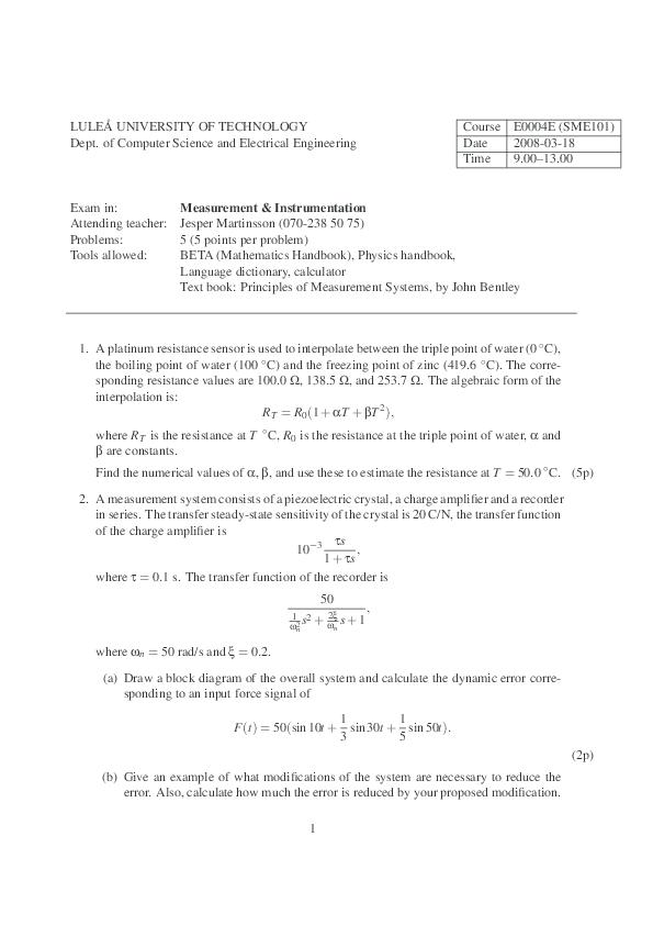 Principles Of Measurement Systems Pdf