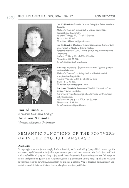 PDF) Semantic functions of the postverb up in the English