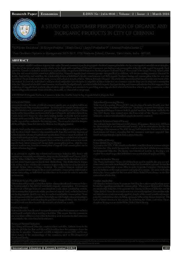 PDF) A STUDY ON CUSTOMER PERCEPTION OF ORGANIC AND INORGANIC