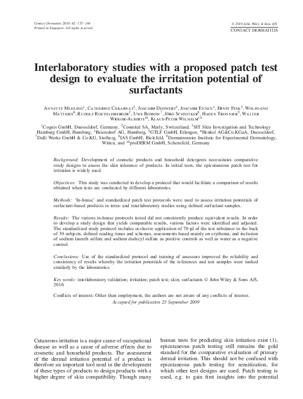PDF) Interlaboratory studies with a proposed patch test