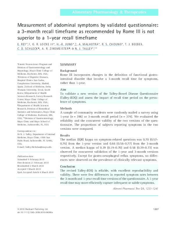 PDF) Measurement of abdominal symptoms by validated