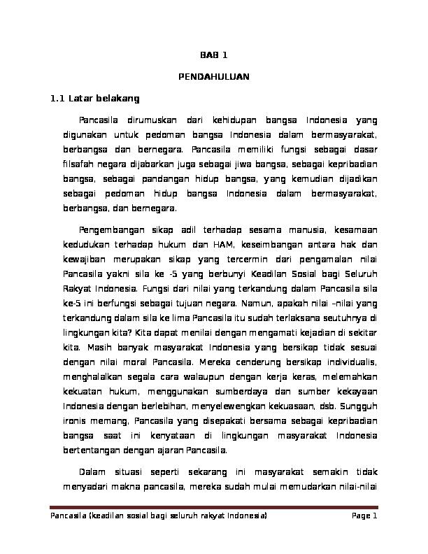 Doc Makalah Penerapan Sila Ke 5 Pancasila Miftachul Ilmi Academia Edu