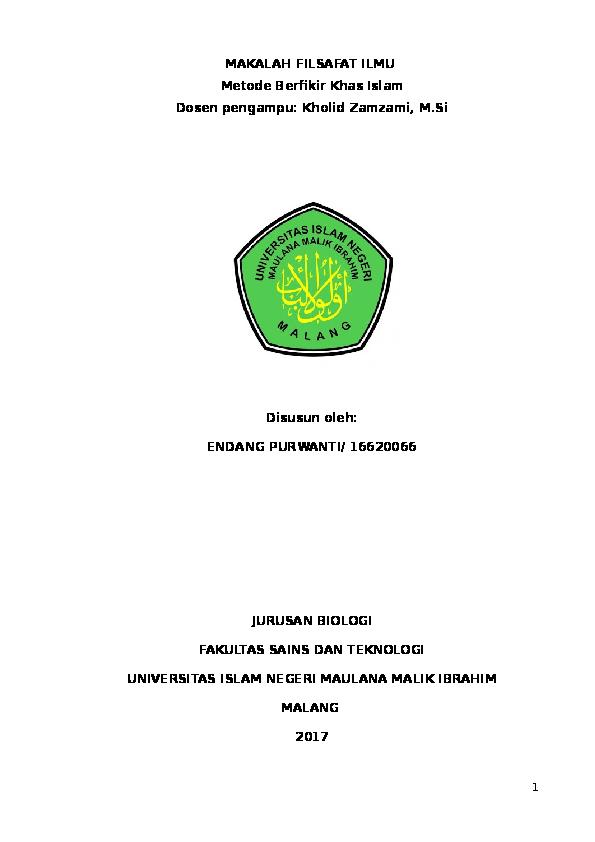 Doc Makalah Filsafat Ilmu Bayani Burhani Irfani Endang Purwanti Academia Edu