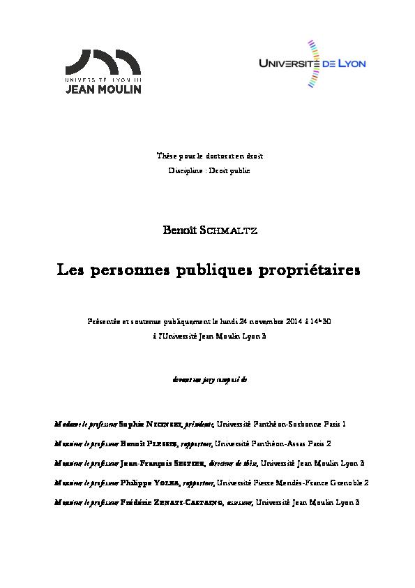 Les personnes publiques propriétaires   Benoît Schmaltz - Academia.edu 379153da23