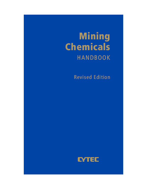 PDF) Mining Chemicals HANDBOOK Revised Edition | Erik Gallas