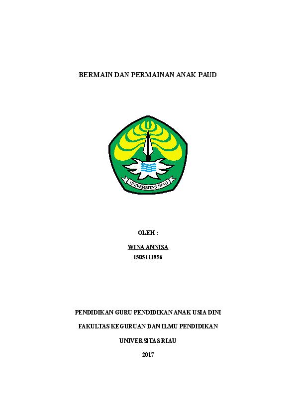 Doc Makalah Bermain Dan Permainan Anak Paud Doc Asada Neko Academia Edu