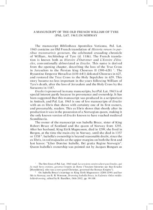 0ddb108cb1 PDF) A Manuscript of the Old French William of Tyre (Pal. Lat. 1963 ...