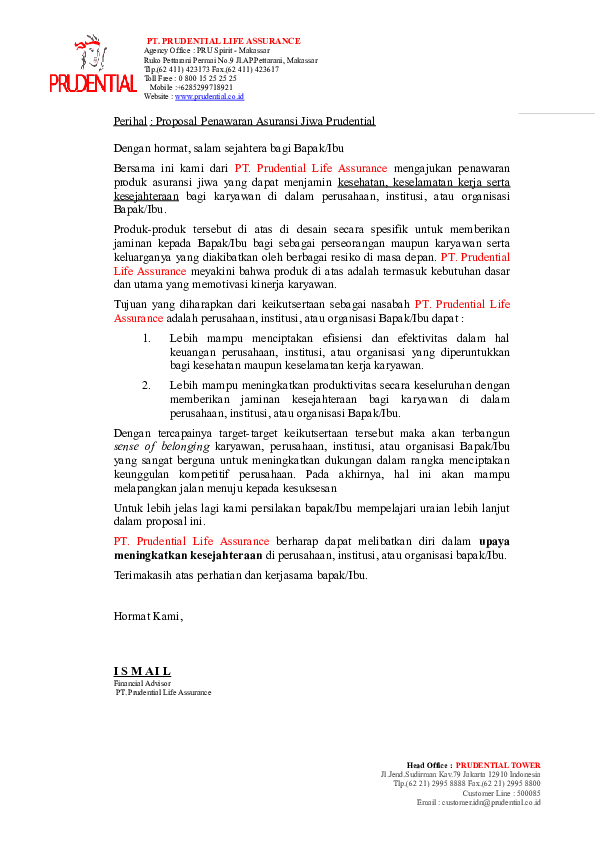 Doc Perihal Proposal Penawaran Asuransi Jiwa Prudential Gue Ban Academia Edu