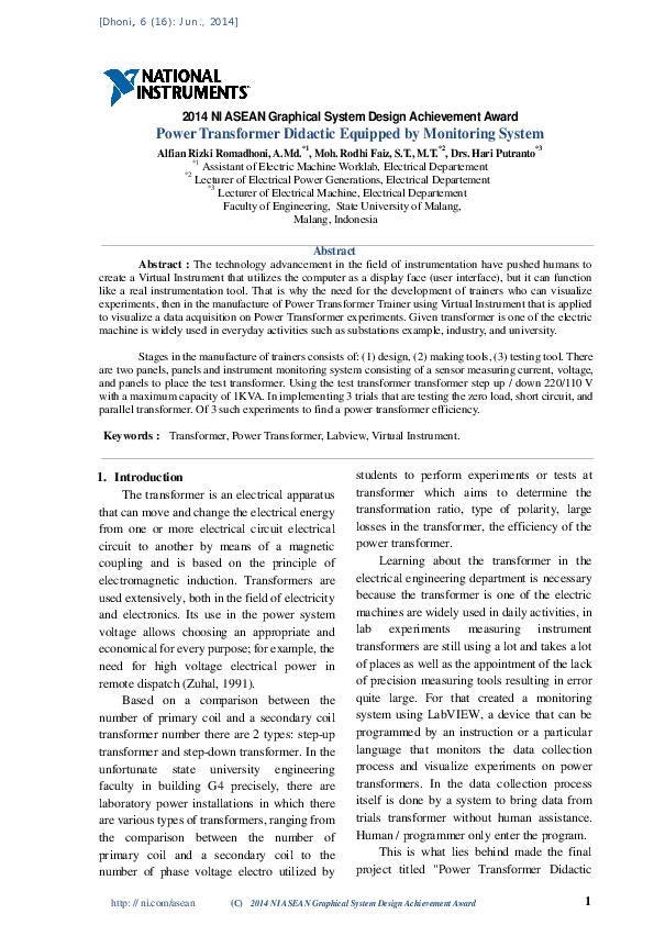 PDF) Power Transformer Didactic Equipped by Monitoring