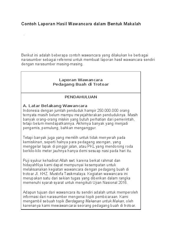 Doc Contoh Laporan Hasil Wawancara Dalam Bentuk Makalah Redi Saputra Academia Edu