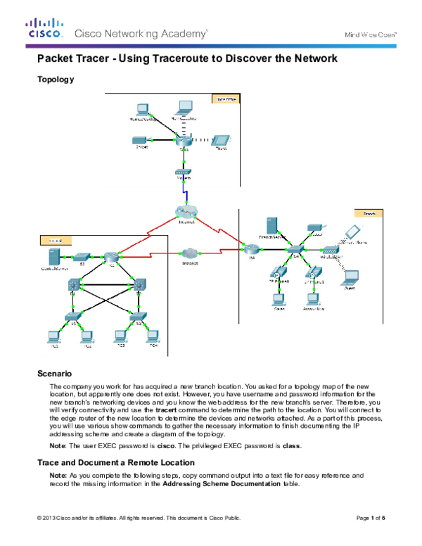 DOC) Packet Tracer -Using Traceroute to Discover the Network