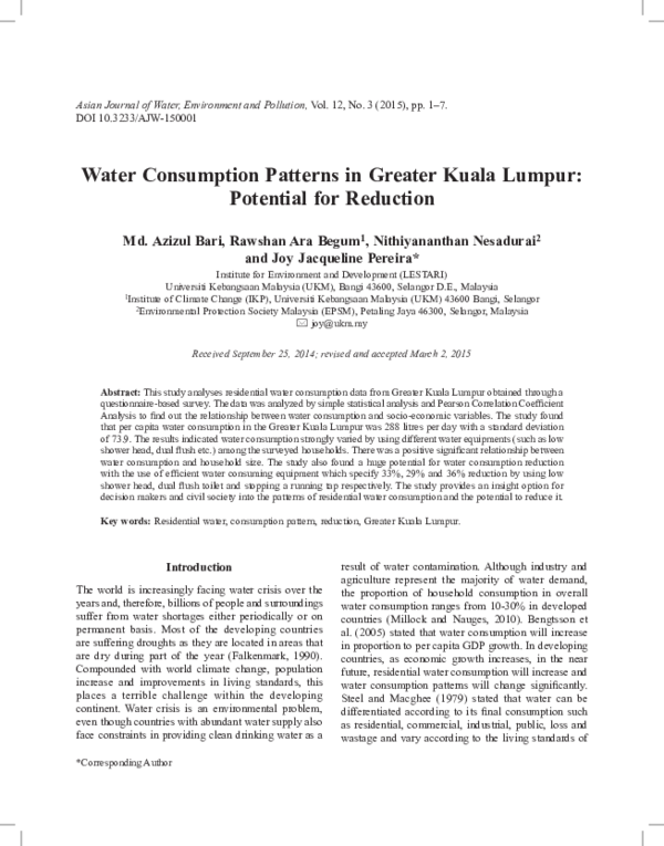 Pdf Water Consumption Patterns In Greater Kuala Lumpur Potential For Reduction Joy Jacqueline Pereira And Rawshan Begum Academia Edu