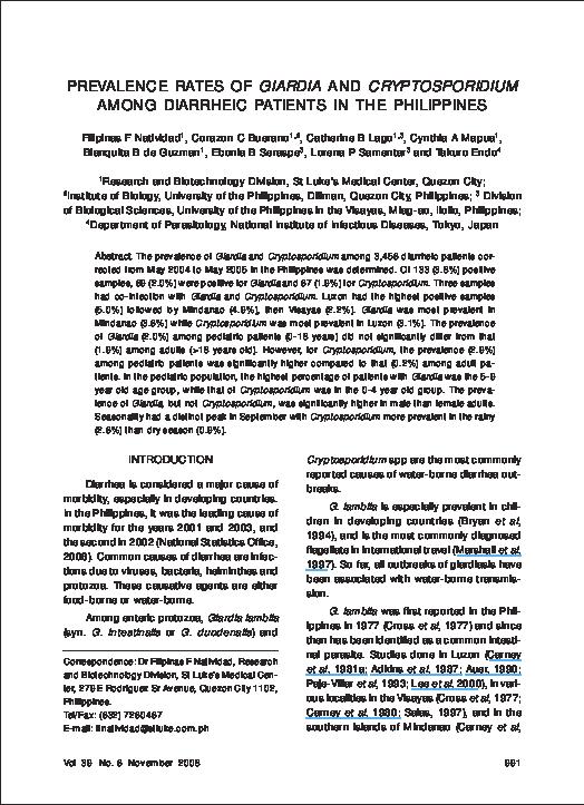 Giardia japan. Védőoltás/Kelet-Ázsiában