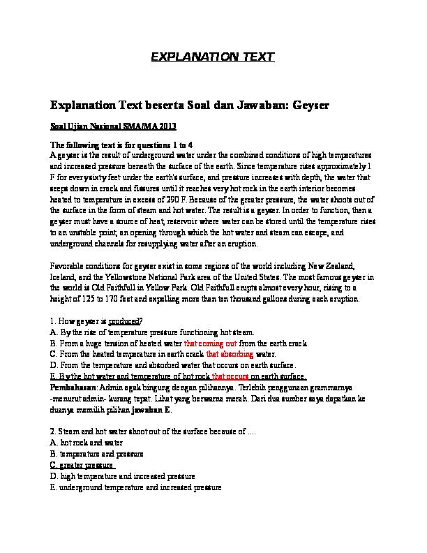 Contoh Text Explanation Beserta Soal Nya